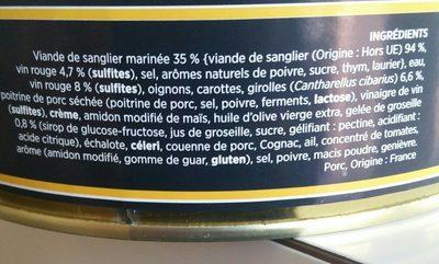 Civet de sanglier - Ingrédients