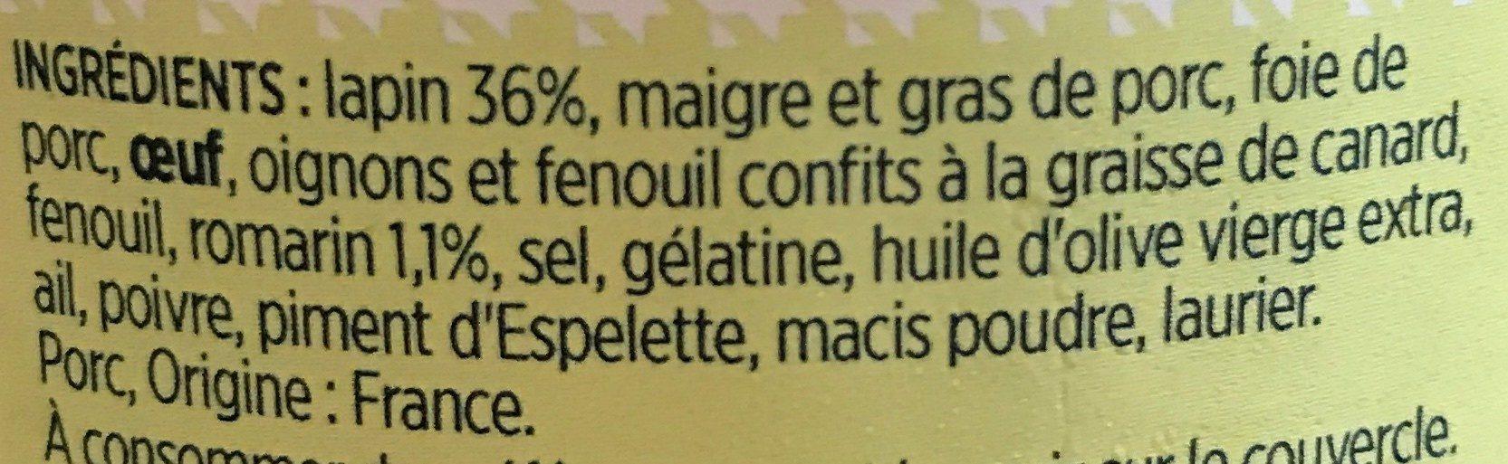 Terrine de lapin - Ingrediënten