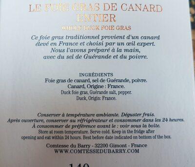 Foie gras de canard entier - Ingrediënten