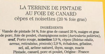 La terrine de pintade au foi de canard - Ingrediënten