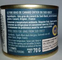 foie gras entier du Sud Ouest - Ingrédients - fr