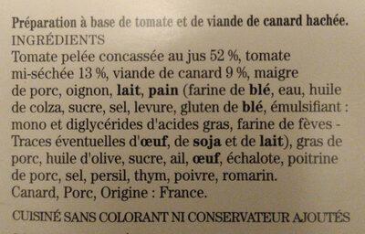Comme une tomate farcie à la viande de canard - Ingrédients - fr