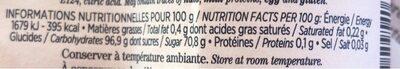 Tranches citron et orange - Informations nutritionnelles