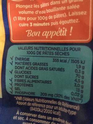 500G Spaghetti Court Cuisson Rapide Lustucru - Informations nutritionnelles