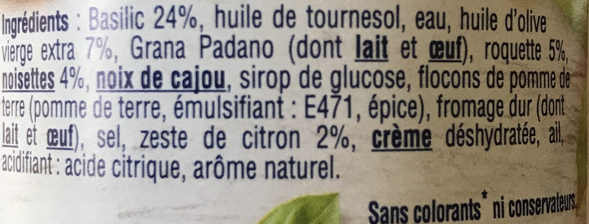 Pesto - Ingrédients