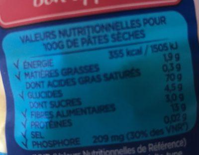 Conchiglie - Informations nutritionnelles - fr
