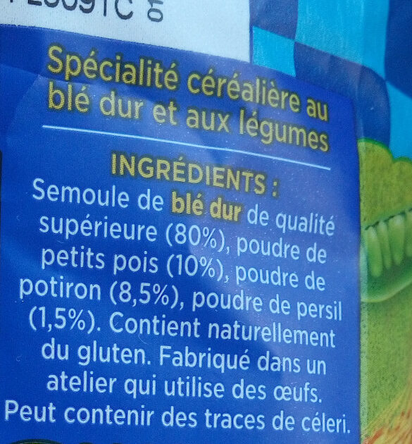 Torsettes délice aux légumes petits pois & potiron - Ingredients - fr