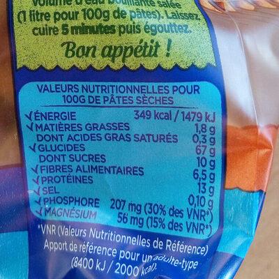 Penne délice aux légumes carotte et butternut - Informations nutritionnelles