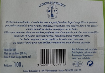 Sardines de bolinche - Ingrédients