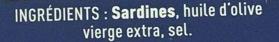 Sardines à l'Ancienne à l'Huile d'Olive Vierge Extra - Ingrédients