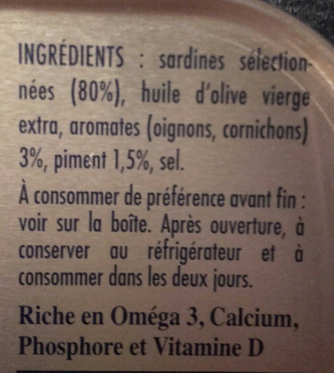 Sardines à l'ancienne - Ingrédients - fr