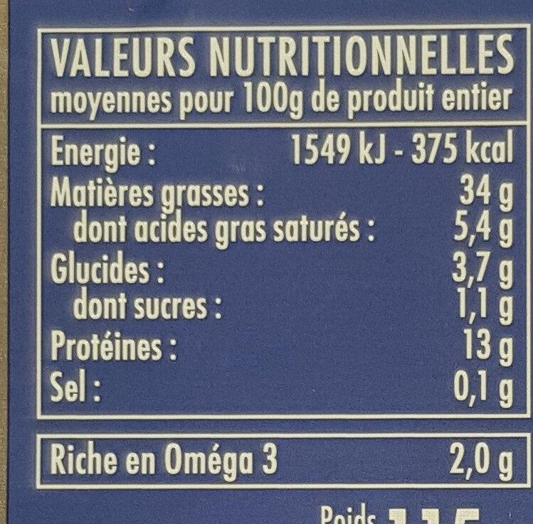 Sardine a l'ancienne - Informations nutritionnelles