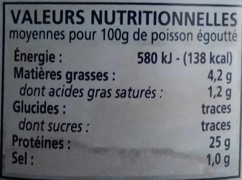 Thon blanc Germon au naturel - Informations nutritionnelles