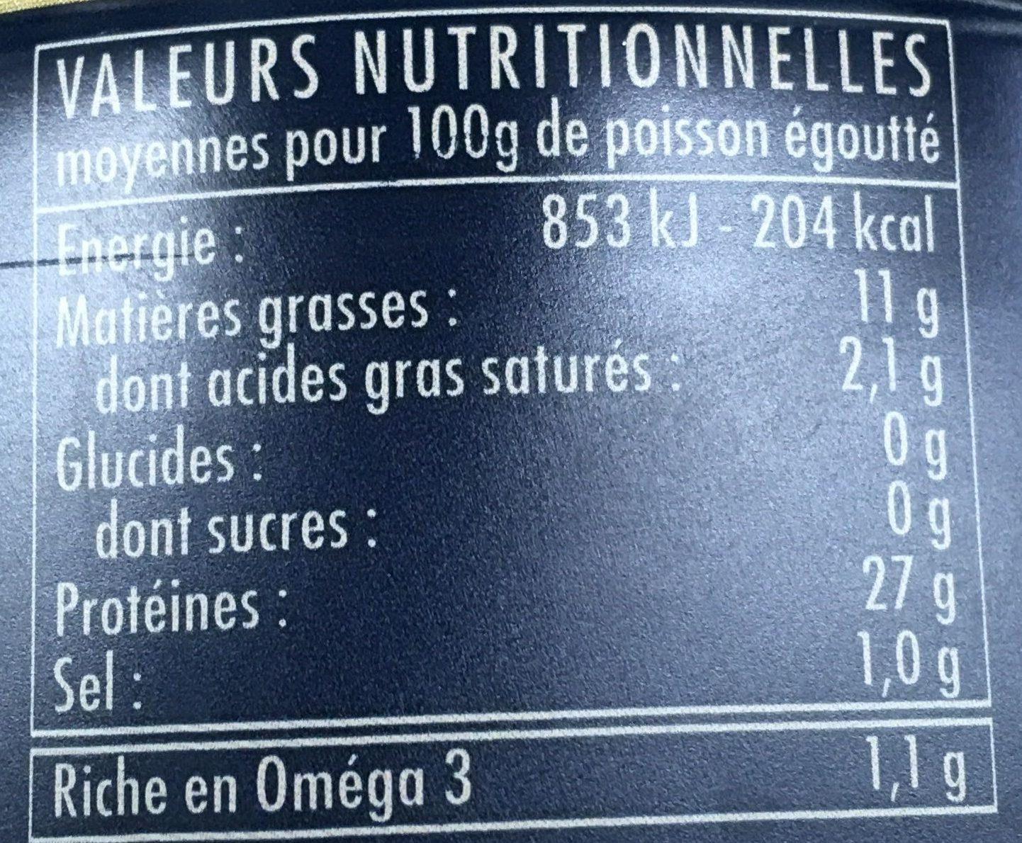 Thon Blanc Germon à l'Huile d'Olive Vierge Extra - Informations nutritionnelles - fr