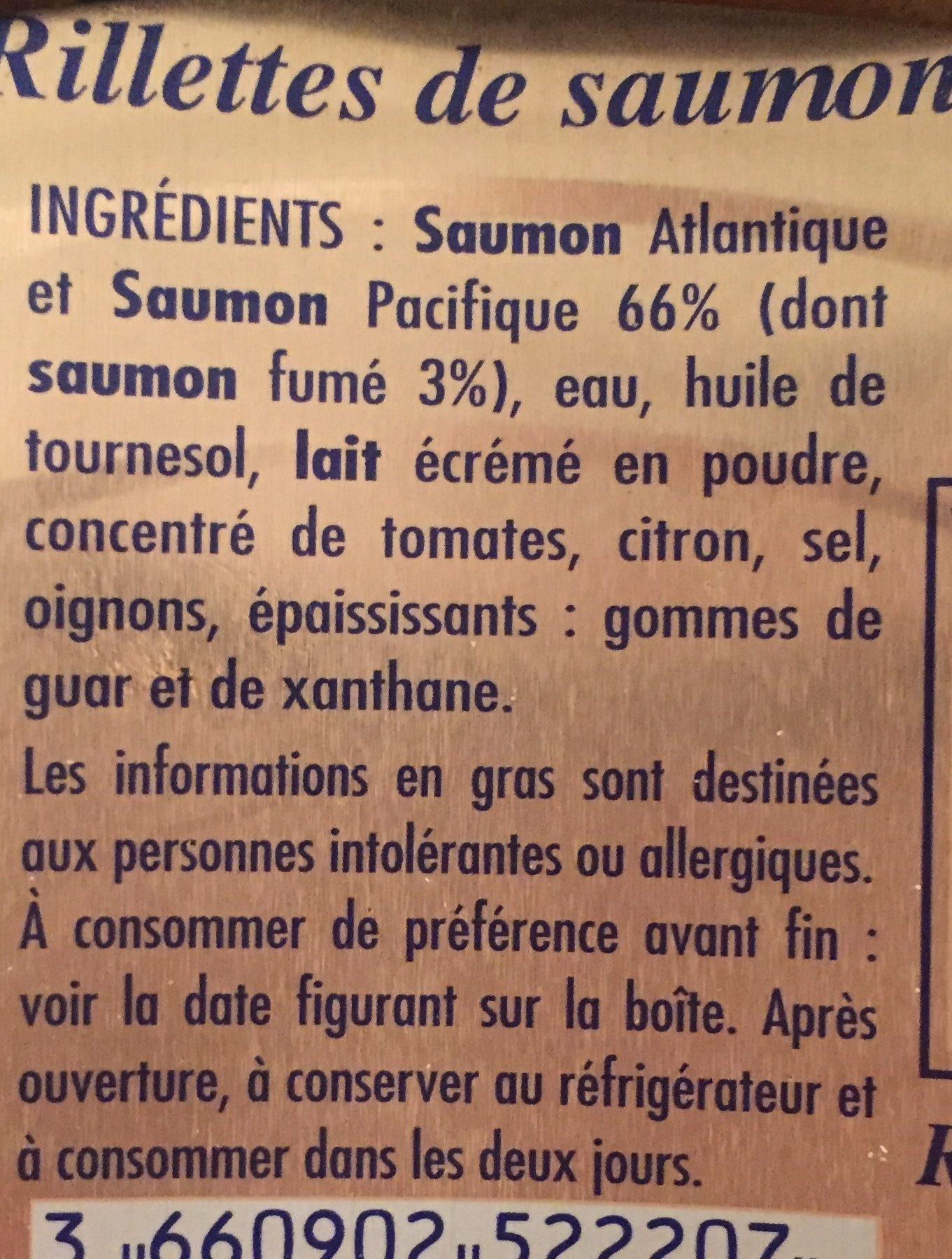 Rilette de saumon Recette Bretonne - Ingredients