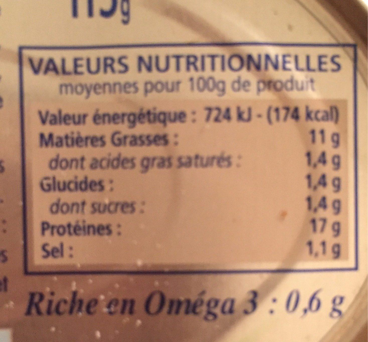 Rilette de saumon Recette Bretonne - Nutrition facts