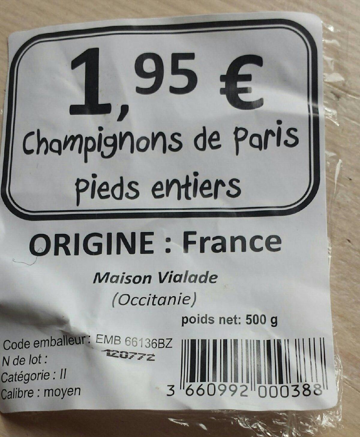 Champignons De Paris entiers, Barquette 500 g - Ingrédients