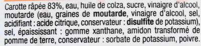 Carottes Râpées Assaisonnées - Ingrédients - fr
