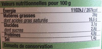 Fromage à tartiner ail et fines herbes - Informations nutritionnelles