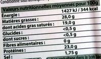 Raclette en tranches - Informations nutritionnelles