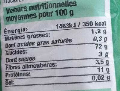 Spaghetti Bien Vu - Informations nutritionnelles