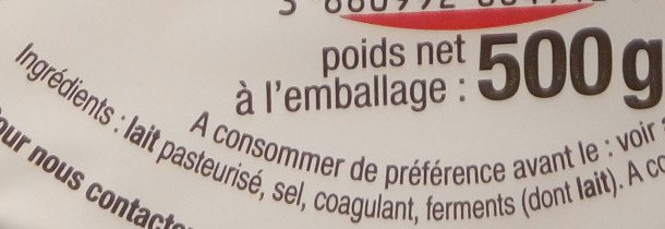 Petit Brie (32 % MG) - Ingrédients