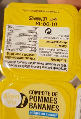Compote de pomme et banane allegee Bien Vu - Produit - fr