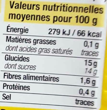 Compote de pomme et banane allegee Bien Vu - Informations nutritionnelles - fr