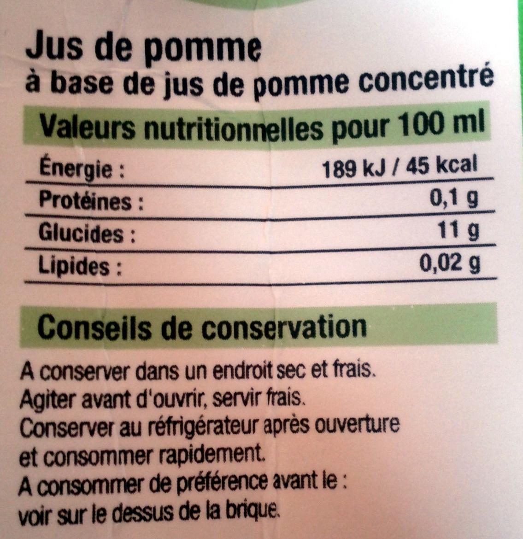 Jus de pomme a base de concentré - Informations nutritionnelles