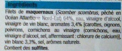 Filets de maquereaux vin blanc et aromates - Ingredients