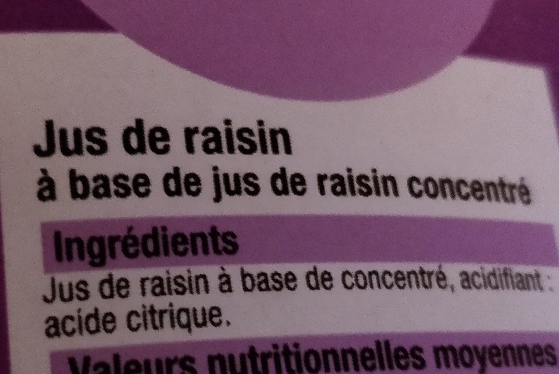 Jus de raisin a base de concentre BIEN VU - Ingrediënten - fr