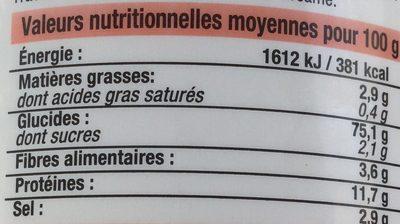 Sticks et bretzels d'Alsace - Informations nutritionnelles - fr