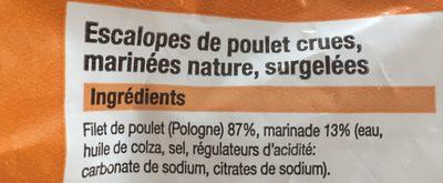Escalopes de poulet - Ingrédients - fr