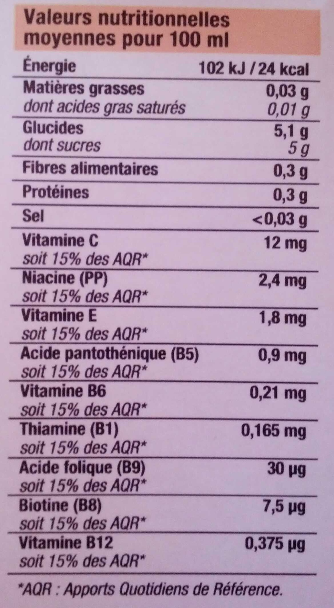 Nectar multifruits - Informations nutritionnelles - fr