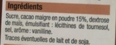 Préparation pour boisson instantanée au cacao maigre - Ingrédients - fr