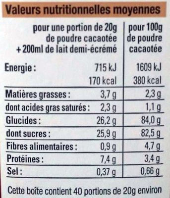 Préparation pour boisson instantanée au cacao maigre - Informations nutritionnelles - fr
