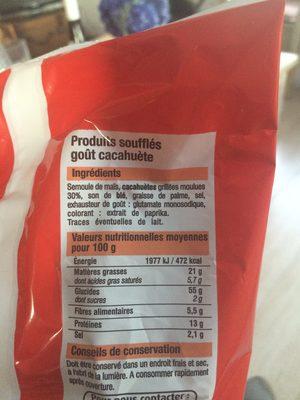 Souffles gout cacahuete BIEN VU - Ingredients