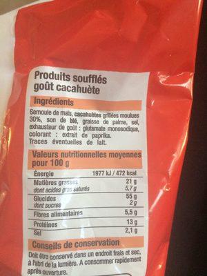Souffles gout cacahuete BIEN VU - Nutrition facts