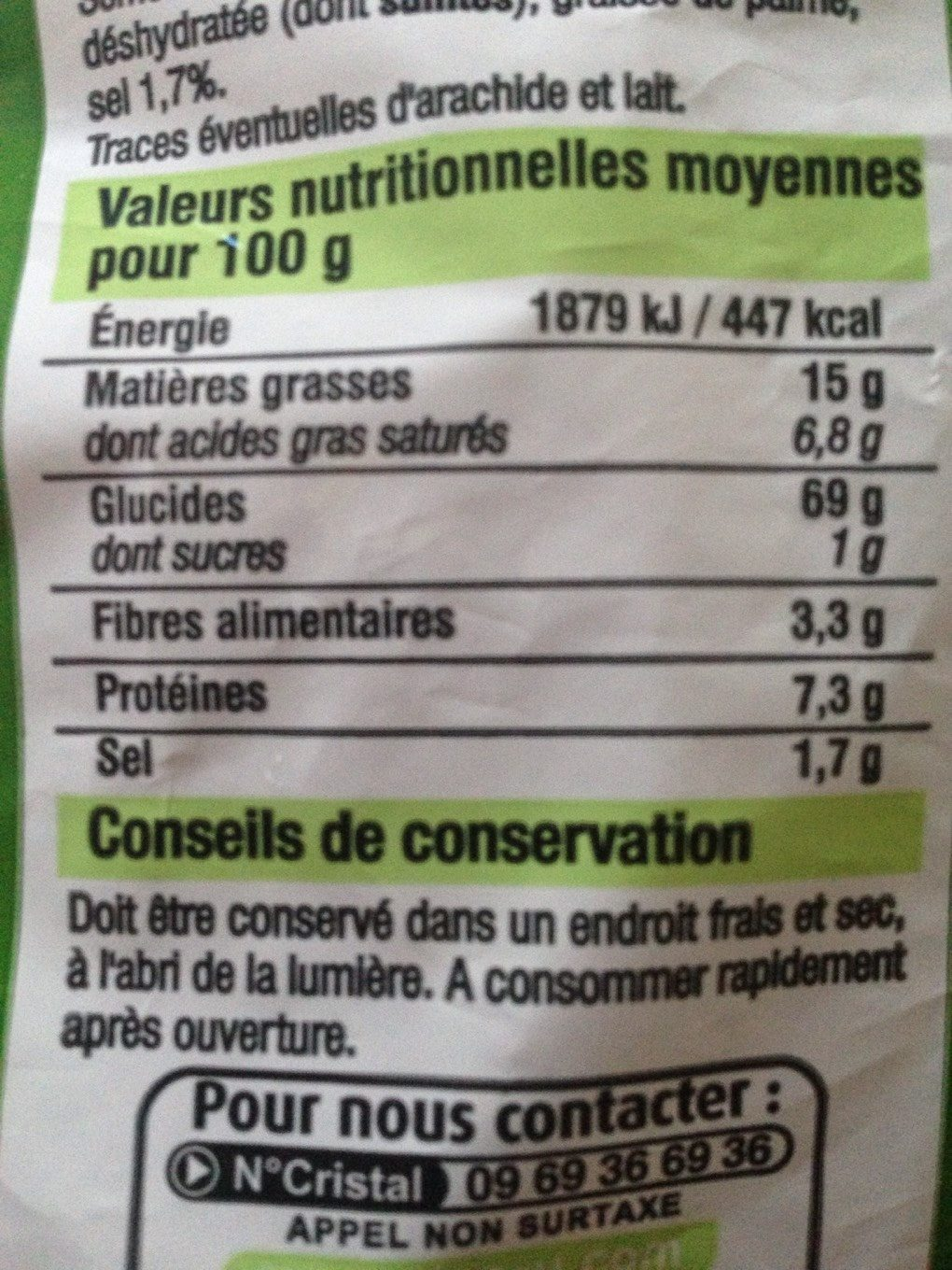 Souffles aperitif frites salee - Nutrition facts