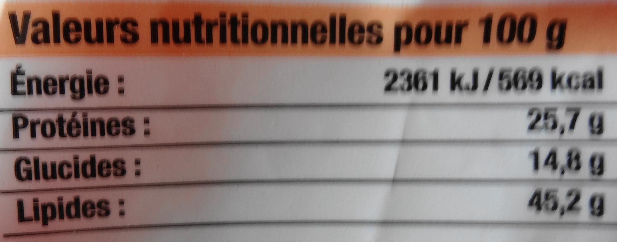 Cacahuètes grillées à sec & aromatisées - Informations nutritionnelles - fr