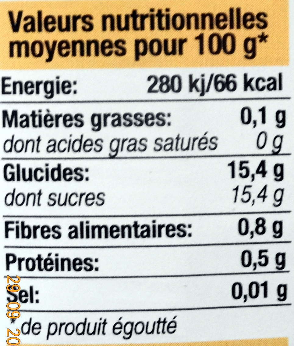Abricots demi-fruits, au sirop léger - Informations nutritionnelles - fr
