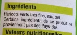 Haricots Verts Très Fins - Ingrédients