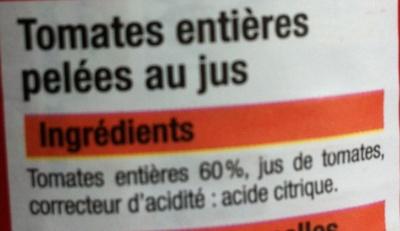 Tomates entières pelées au jus - Ingredients - fr