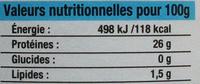 Morceaux de Thon au naturel - Informations nutritionnelles - fr