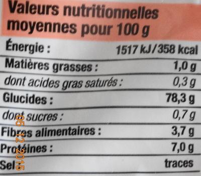 Riz Long Etuvé - Informations nutritionnelles - fr