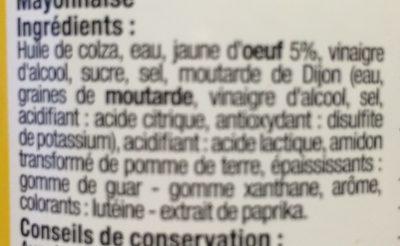 Mayonnaise à l'huile de colza - Ingrédients - fr