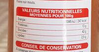 POIVRE NOIR moulu - Informations nutritionnelles - fr