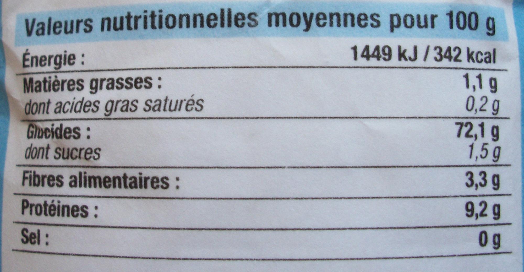 Farine ménagère - Informations nutritionnelles - fr