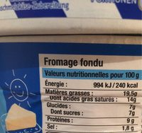 Fromage fondu (19,5% MG) - Nutrition facts - fr