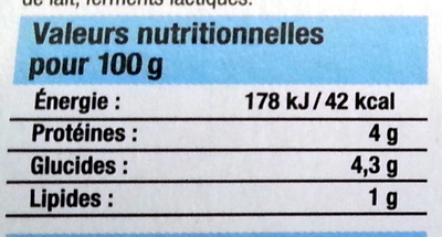 Yaourts nature - Informations nutritionnelles